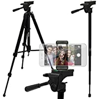 iGadgitz 150cm (59) Extendable 2 in 1 Aluminium Travel Tripod and Monopod & Smartphone Holder Mount Bracket Adapter for Samsung Galaxy A9 A8 A3 A5 Alpha, S6 S7 & Edge, S3 S4 S5 & Mini, Ace 2 3 4