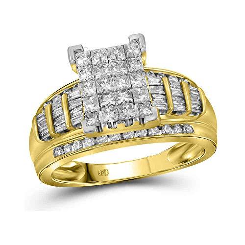 (Jewel Tie Solid 14k Yellow Gold Princess Cut Diamond Bridal Wedding Engagement Ring 2.0 Cttw - Size 9)