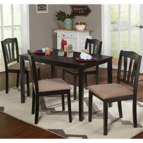 Dining Room Set (5Piece) Modern Black Kitchen Furniture Table & Chairs