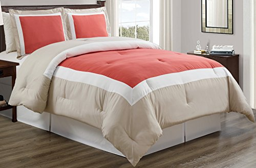 3 piece CORAL / LIGHT GREY / WHITE Goose Down Alternative Color Block Comforter set, KING / CAL KING size Microfiber bedding, Includes 1 Comforter and 2 - Coral Grey