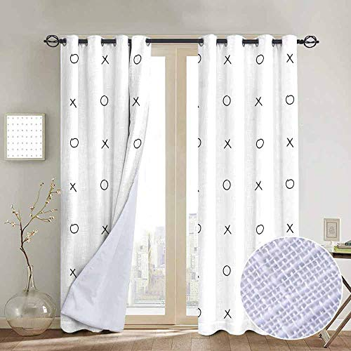 NUOMANAN Thermal Insulated Blackout Curtain Xo Decor,Hand Drawn Cross Zero Pattern Classic Game Tic Tac Toe in Black and White Colors,Black White,Blackout Draperies for Bedroom Living Room 54