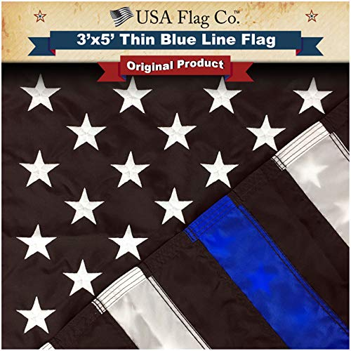 USA Flag Co. Thin Blue Line American Flag is 100% American Made: The Best 3x5 Embroidered Stars and Sewn Stripes, Made in The USA, Outdoor Police Flag.