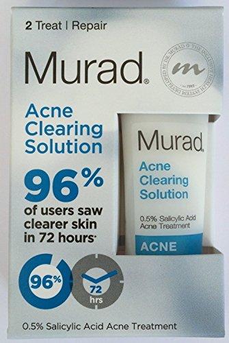 Murad Acne Clearing Solution - Set of 2, 0.5% Salicylic Acid Acne Treatment - 0.33 fl oz/10 ml + Murad Tote