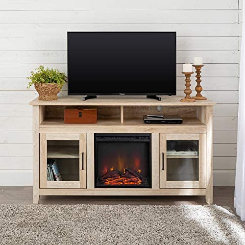 Walker Edison Furniture AZ58FP18HBWO Tall Rustic Wood Fireplace TV Stand