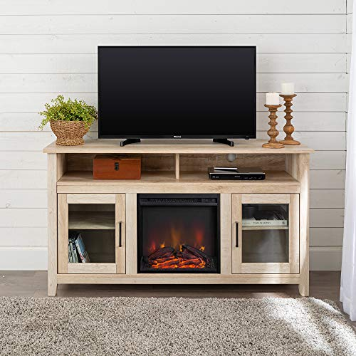Walker Edison Furniture Company Rustic Wood And Glass Tall Fireplace Stand For Tv S Up To 64 Flat Screen Living Room Storage Cabinet Doors And Shelves Entertainment Center 32 Inches White Oak