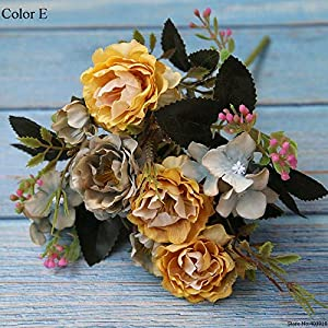 CoronationSun - Peony Artificial - Peony Decoration Tage Silk Artificial Flowers Rose Wedding Supplies Decor 46