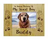 Personalized Wood Engraved Dog Memorial Picture Frame, Loss Of A Pet Gift