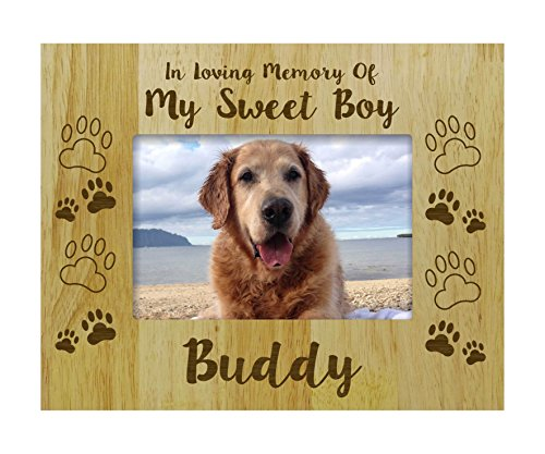 Darling Souvenir Personalized Wood Engraved Dog Memorial Picture Frame, Loss Of A Pet Gift - In Loving Memory Customizable Quote- 5 x 7 Inches Horizontal ()