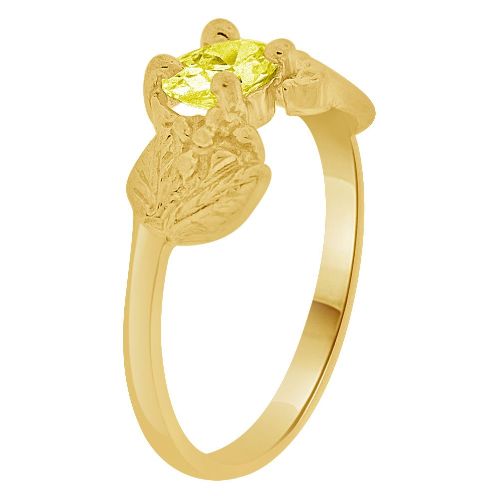 Small Size Children Kids Baby Ring Adult Pinky Ring Bird Leaves Design Created CZ Crystal Yellow 14k Yellow Gold