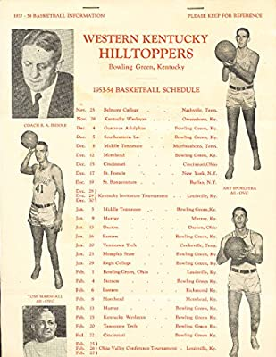 1953 Western Kentucky Basketball Guide 18 pages legal size