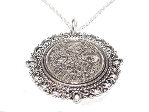 Fancy Pendant 1959 Lucky Sixpence 60th Birthday Plus a Sterling Silver 18in Chain