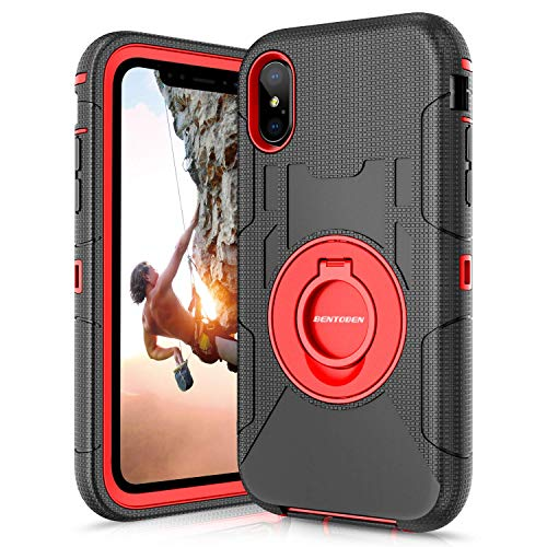 (iPhone Xs Max Case, BENTOBEN Kickstand Belt Clip Holster Ring Case,Shockproof Hybrid Hard PC Soft Silicone Full Body Rugged Protective Cover Case for iPhone Xs Max/6.5-inch,Red)