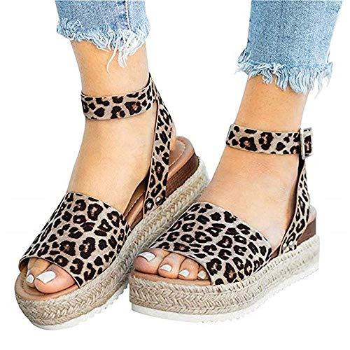 Ymost Womens Wedges Sandal Open Toe Ankle Strap Trendy Espadrille Platform Sandals Flats (7.5 B(M) US-EU Size 38, New - Wedge New Platform