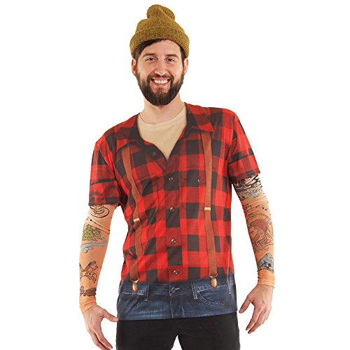 [Lumberjack w/ Tattoos Men's Allover Longsleeve Costume T-Shirt (2XL)] (Mens Lumberjack Costumes)