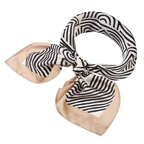 Jaweaver Women's Square Oblong Silk Satin Scarves Vintage Dots Head Scarf Shawl (Stripe-Beige Edge, 27x27inch)