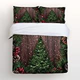 EZON-CH Duvet Cover Set Christmas Tree Ornaments Old Wood Print 100% Brushed Cotton Soft 4 Piece Duvet Cover Set Duvet Cover Flat sheet Pillow Cases Bed Sheet Set(Twin)