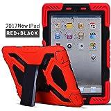 New iPad 9.7 Inch 2018/2017 Case,Meiya ShockproofWaterproofProtective RuggedwithBuiltinScreenProtectorFull-bodyHybridProtective KickstandCaseKids Cover For Apple iPad 9.7 Inch 2018/2017/iPad 5 (Red+Black)