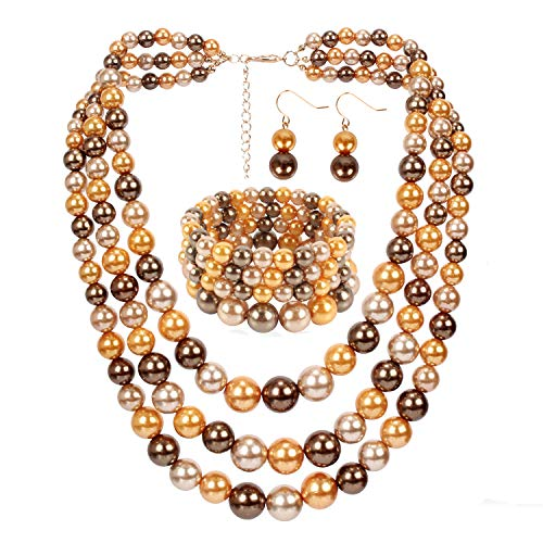 - HaHaGirl Faux Pearl Strands Mix Brown Tone Jewelry Sets for Women Include Necklace Bracelet and Earrings Set