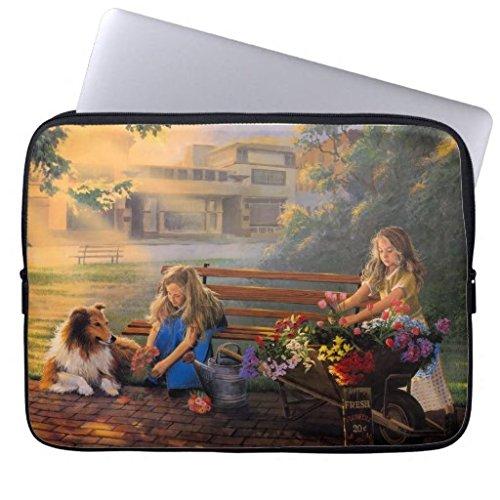Custom paintings-art-children-kids-flowers-cute-wallpaper-1(19)Retro chic laptop set 13-14 inches