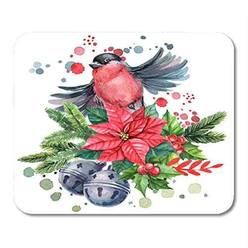 Nakamela Mouse Pads Watercolor Christmas Composition with Bird Bullfinch Red Poinsettia Bells Spruce Branches and Spray Paint Mouse mats 9.5