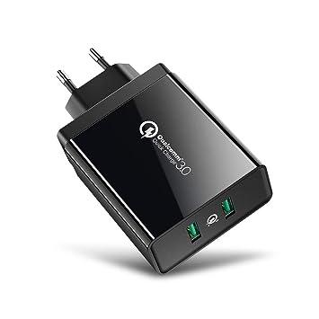 Cargador Móvil Rápido, UGREEN Cargador QC 3.0 2 Puertos USB, 36W Cargador Rápido Pared Quick Charge 3.0 para Samsung S10 S9 S8, Xiaomi Mi A2 Mi A3 Mi ...