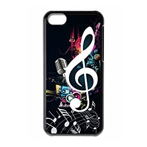 COOL phone case,For black plastic iphone 5c case with Exquisite Colored Pattern - Music Notes Pattern at SMALL HORSE store
