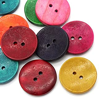 """HOUSWEETY 50PCs Wood Sewing Buttons Scrapbooking 2 Holes Round Mixed 3cm(1 1/8"""") Dia."""