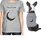 365 Printing Moon And Back Small Pet Owner Matching Gift Outfits Womens T-Shirt (ONWER - L / PET - S)