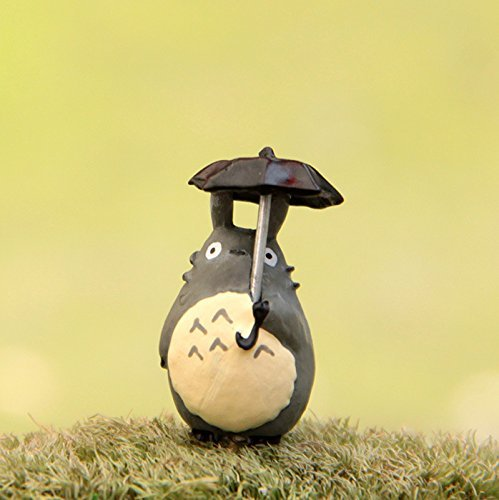 2 pcs Miniature Totoro Carrying Umbrella Figure Fairy Garden Terrarium Supplies