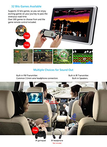DDAUTO DD101HD Headrest DVD Player 10.1 Inch 1080P HD Digital TFT Screen Touch Keys Monitor Multimedia Choices Supports HDMI, USB SD card with Complete Accessories by DDAUTO (Image #1)