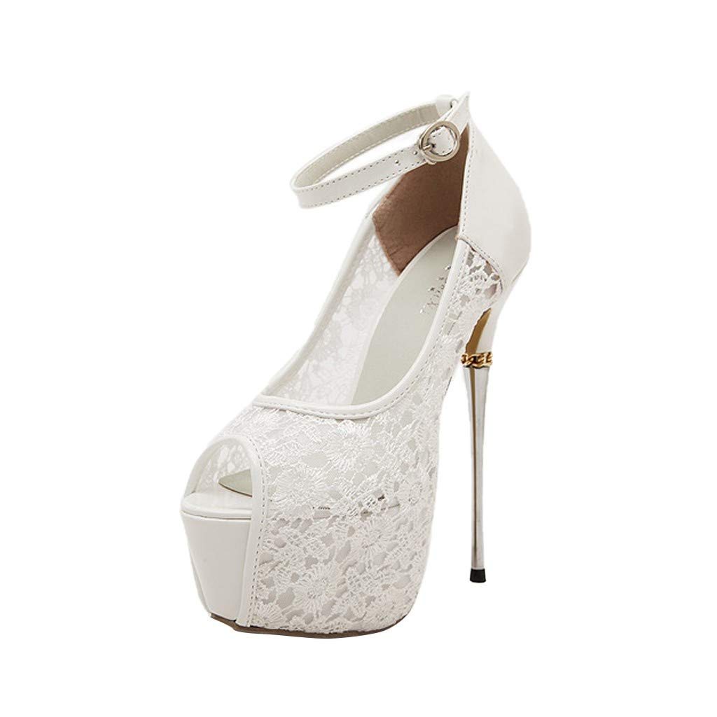 Womens Wedding Party Evening Shoes,❤️ FAPIZI Fish Mouth Lace Platform Stiletto High Heels Ankle Strap Sandals Heels White