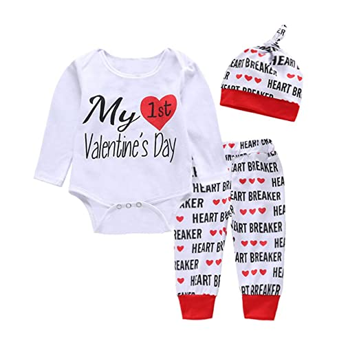54ee8b13 bebiullo Baby Boys Girls Valentine Clothes Sayings Romper Bodysuit Jumpsuit  Heart Pants Hat Clothing Outfits for