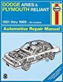 Dodge Aries and Plymouth Reliant, 1981-1989: Based on a complete teardown and rebuild (Haynes Repair Manual)