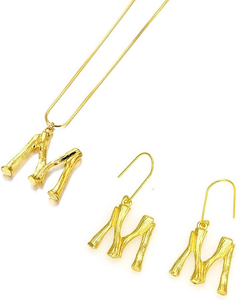 26 Lettre Charm 3D en Bambou Pendentifs Initiale Collier /& boucle doreille pour Femme Homme Filles Plaqu/é Or Serpent