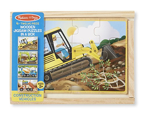 Melissa & Doug Construction Vehicles 4-in-1 Wooden Jigsaw Puzzles (48 pcs) by Melissa & Doug (Image #2)