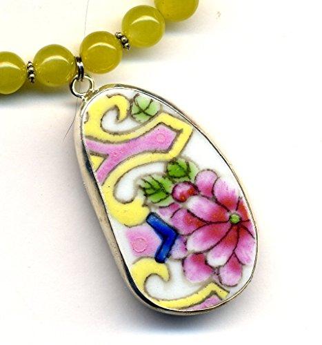 Big Antique English Porcelain Pendant Pendant, Yellow Rose Necklace, Flower Necklace, Necklace with recycled porcelain pendant by AnnaArt (Antique Jade Pendant)