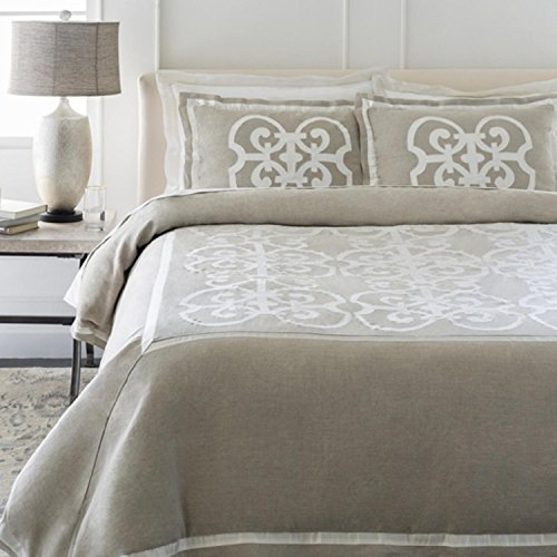 Diva At Home Sandy Brown and Beige Royalty Decorative Linen King Bedding Set