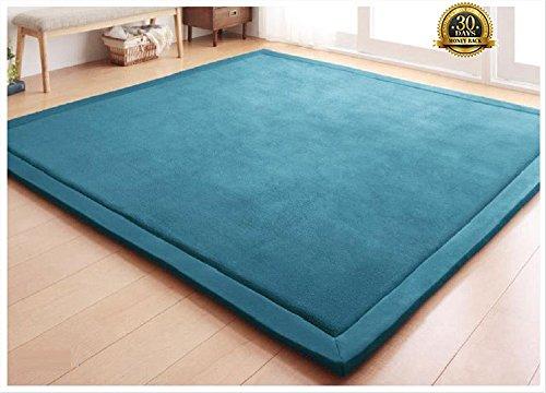HIGOGOGO Japanese Coral Velvet Carpet Thickness:2cm, Blue Children Play Mat Plush Foam Bedroom Mat Area Rug Yoga Mat, 75 by 110 inch Reversible Living Room Carpet/Children Crawling Mat by HIGOGOGO