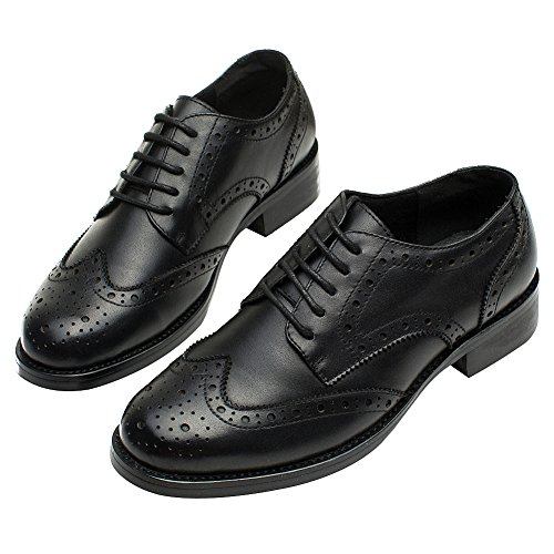 rismart Women's Brogue Pointed Toe Wingtips Work&Wedding Dress Leather Oxfords Shoes 02372(Black,US7) by rismart (Image #4)