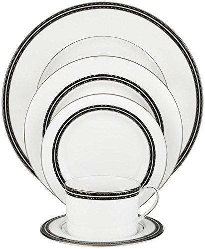 (Kate Spade New York Union Street Dinnerware 5-Piece Place Setting, White Bone China with Black and Platinum Details)