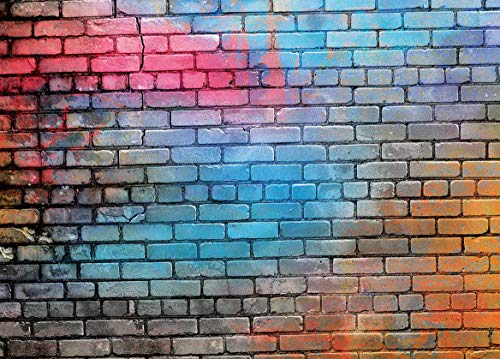 Werrox 7x5FT Colorful Brick Wall Photo Backdrop 80's Hip Hop Disco Graduation Themed Photography Background Fashion Decor Studio Photo Booth 11-502 | Model WDDNG -4217 | 7x5FT