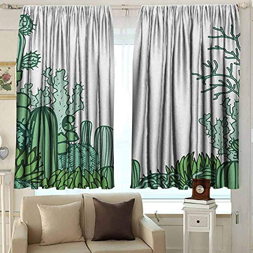 AFGG Exterior/Outside Curtains Cactus Arizona Desert Themed Doodle Cactus Staghorn Buckhorn Ocotillo Plants Room Darkening, Noise Reducing 72 W x 63 L Inches Green Pale Green Seafoam