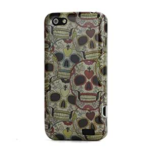 JUJEO Colorized Skull for HTC One V T320e Hard Plastic Cover Accessories - Retail Packaging - Multi Color