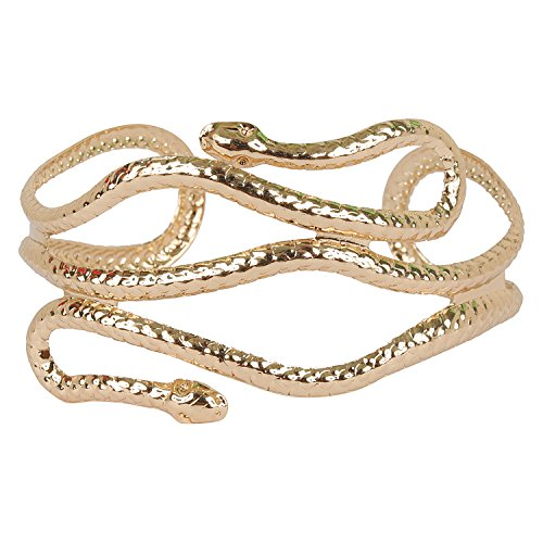 ASHI'S Collection Shiny Metallic Snake Shape arm Cuff for Women and Girls. (Gold)