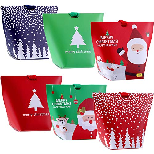 Jovitec 18 Pieces Christmas Candy Treat Boxes with Ribbons Xmas Cookie Boxes Gift Boxes with Christmas Elements Patterns for Christmas Party Favors]()