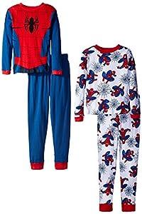 Spiderman Big Boys' Wall Spider Four-Piece Pajama Set