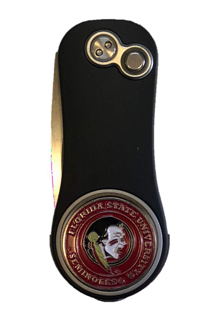 Pitchfix フロリダ州立大学 セミノール ブラックフュージョンディボットツール ゴルフボールマーカー付き ギフトアイデア   B07KPPNKF8
