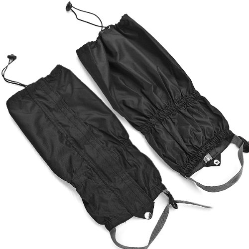 Astra Depot 1 Pair Jet Black Unisex Double Sealed Zippered Closure TPU Strap Waterproof 400D Nylon Cloth Leg Gaiters Leggings Cover for Boots Shoes Lower Legs Pants Jeans - Dirt Adult Biking Boots