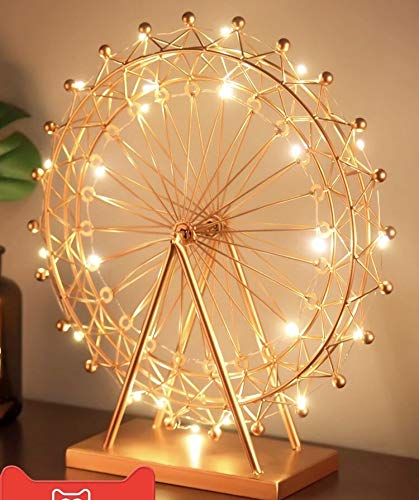 Kuso Hand Forged Wrought Crafts Iron Metal Ferris Wheel Statue with String Lights, Tabletop Ornaments for Home Furnishing Decoration (Gold, L) (Decoration Ferris Wheel)