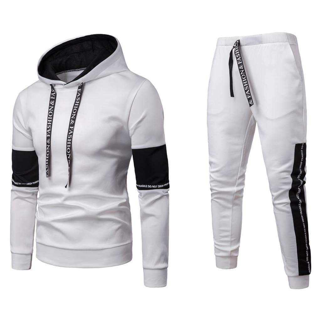 Men's Sportswear Suit,AmyDong Long Sleeve Hooded Sweatshirt Patchwork Sweater Fashion Autumn Winter Top Pants Sets White
